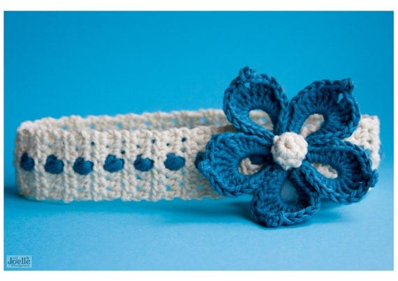 CROCHET PATTERN  'Periwinkle' flower headband