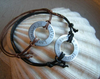 Cotton Aniversary gift, 2 Personalized stamped washer bracelets, 2 bracelets for couples, Gift for Him, for Her, 1mm Black wax cotton cord