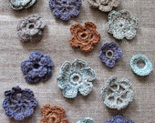 15 Linen Crochet Applique Flowers Natural Grey Colored Dove Gray Brown Violet