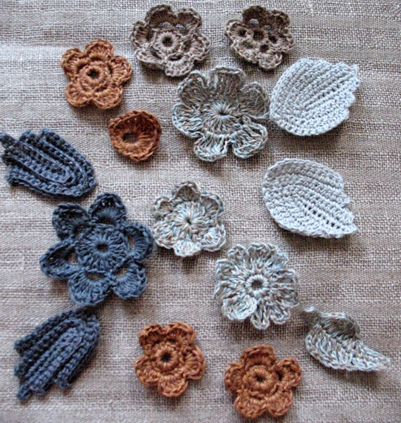 10 Linen Crochet Applique Flowers with Leaves (5 Pieces) Natural Grey Colored Dove Gray Brown