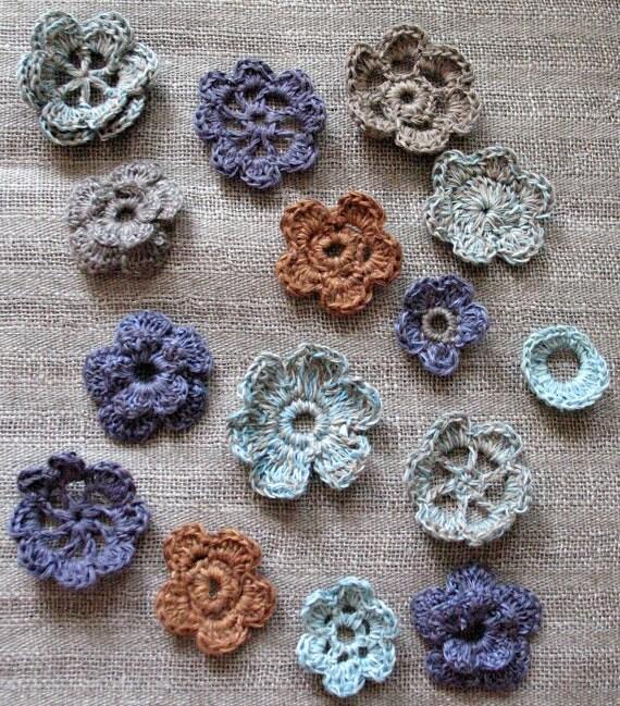 15 Linen Crochet Applique Flowers Natural Grey Colored Dove Gray Brown Violet