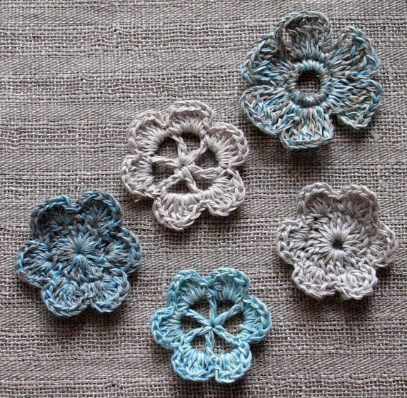 5 Linen Crochet Applique Flowers Natural Grey Colored Dove Gray Brown