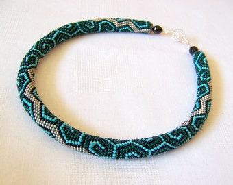 Bead crochet necklace with geometric pattern - Beaded rope necklace - Handmade jewelry - Beadwork - emerald, turquoise, black and silver
