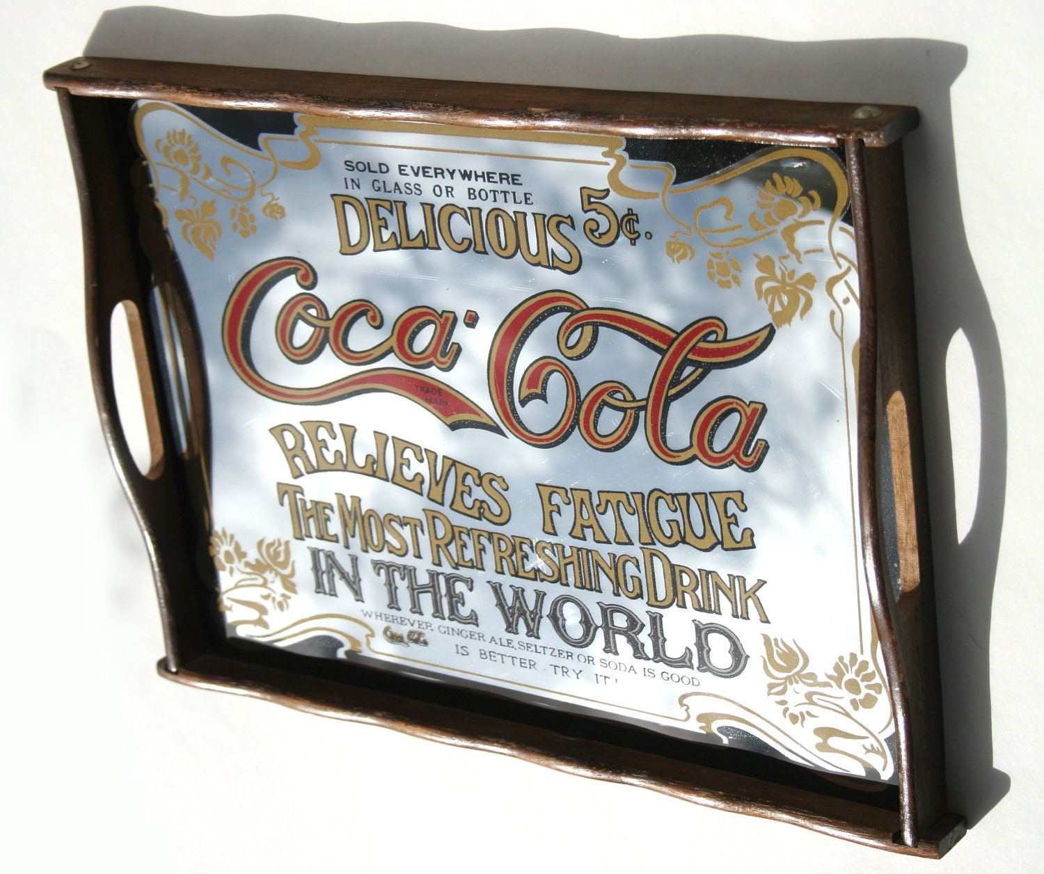 60 Coca Cola Mirror Serving Tray With Wood Handles Relieves