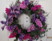 Cinderella Happily Ever After:  Wreath, Front Door Wreaths. Purple and Pink Lilacs, Green Folliage