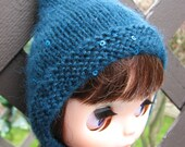 BLYTHE hand knit sparkly mohair sequin pixie hat - teal frost