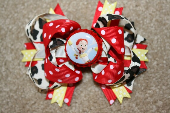 Jessie the cow girl from Disney Toy Story Custom Boutique Bottle Cap Hair Bow Clip - red, yellow, blue, cow print
