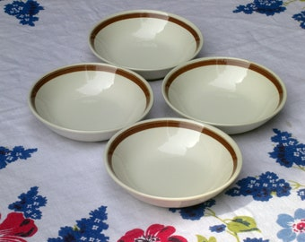 Royal USA China Cavalier Monterey Pattern Floral  Accent Coupe Cereal Bowls - Set of 4