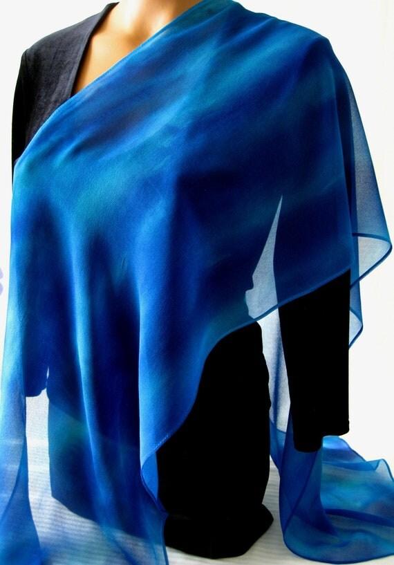 Deep Blue Chiffon Scarf. 14x72 inch Long Hand Dyed Silk Chiffon Scarf. Silk Scarves Blue. Hand Dyed Several Rich Shades of Blue.
