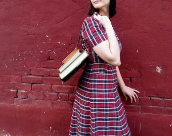 Mint Condition Rockabilly Red Plaid Vintage 1950s Dress with Pockets Home Made