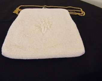 Vintagee White Beaded Purse with Chain Strap