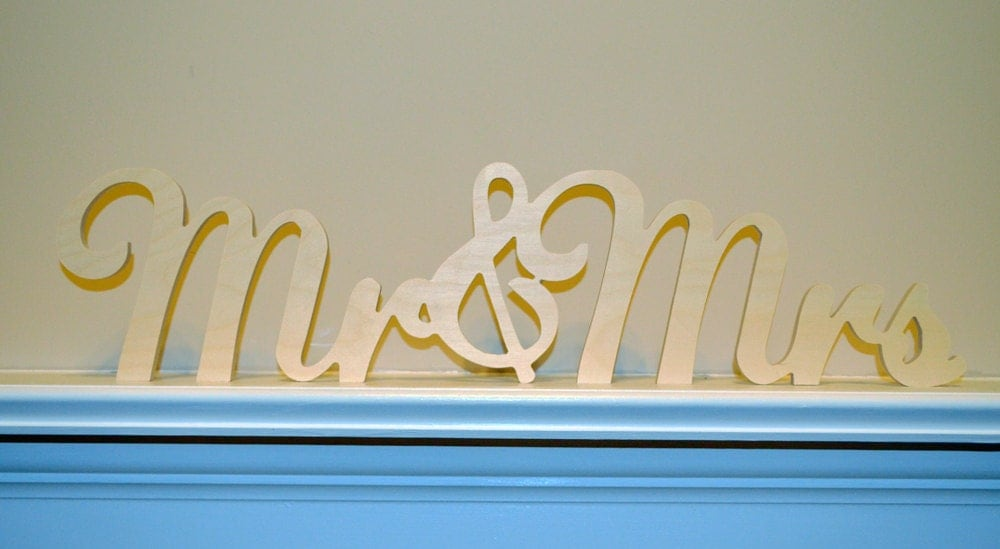 Mr & Mrs Connected Wooden Monogram Script By