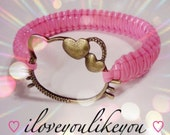 Hello Kitty Bracelet with Hearts / Bangle /  In Pretty in Pink ONLY