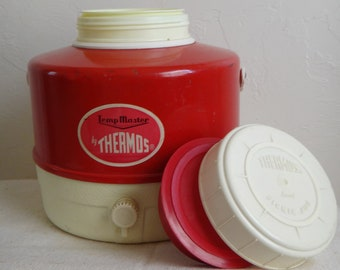 Red and White Thermos Picnic Jug