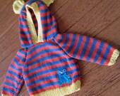 Handknitted Teddy Bear Ears Stripey Hoodie