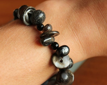"Boho Brown and Black Stone/Bead/Button Bracelet 8"" Long, Lobster Clasp"