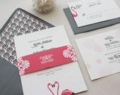 Wedding Invitation, Modern Wedding Invitations Suite, Unique, Urban Chic, Custom Wedding Invitation Set - Flamingo Deposit