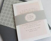 Sweet Wedding Invitations, Modern Wedding Invitation, Elegant Wedding, Grey and Blush, Custom Wedding Invitation Suite - Sweet Story Deposit