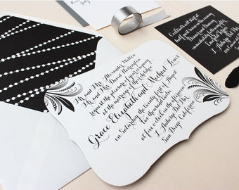 Die-cut Bracket Wedding Invitation, Elegant, Black and White, Calligraphy Wedding Invitation - Pearl and Feather | Deposit