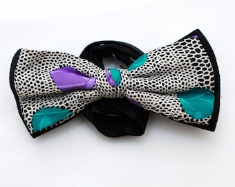 "80s Vintage ""PARTY TIME"" Size-Adjustable Silk Bowtie (Rare)"