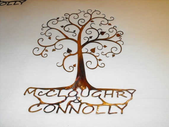 Etsy Family Wall Decor : Custom family tree wall art by metalarchitect on etsy