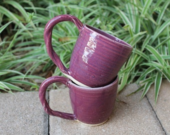 Set of 2 Glossy Purple Mugs with Detailed Twisted Handles, Cone 6 Glaze