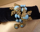 REDUCED Outrageous SIGNED  Miriam Haskell Wrap Bracelet and Earrings Blue Glass