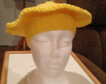 Yellow Knitted Beret