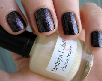 Flame Sniper Red Shimmer Sparkle Fleck Top Coat Custom Nail Polish 15mL