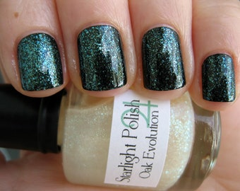 Oak Evolution Green Shimmer Sparkle Fleck Top Coat Custom Nail Polish 15mL