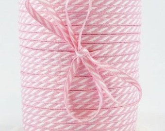 Light PINK Solid/Diagonal Stripes RIBBON - 4 Yards- Blush Pink Stationery, Packages, Homemade Gifts, Tags, Cards, DIY, Crafts, Shower, Party