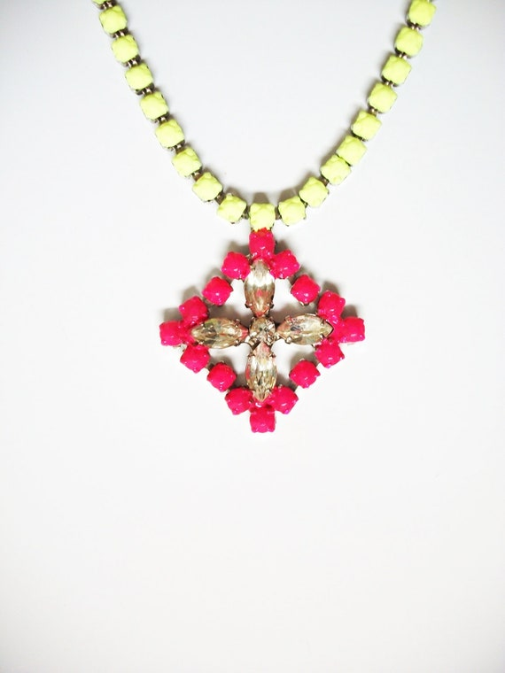 Vintage 1950s One Of a Kind Hand Painted Neon Pink & Neon Yellow Rhinestone Necklace- Extender Available