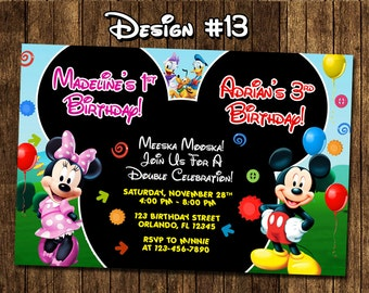 Mickey Mouse Clubhouse Baby Twins Birthday Party Photo Invitations - Printable