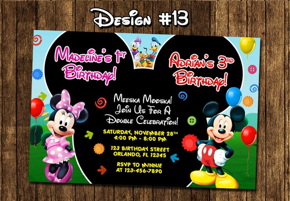 Mickey Mouse Clubhouse Baby Twins Birthday Party Photo