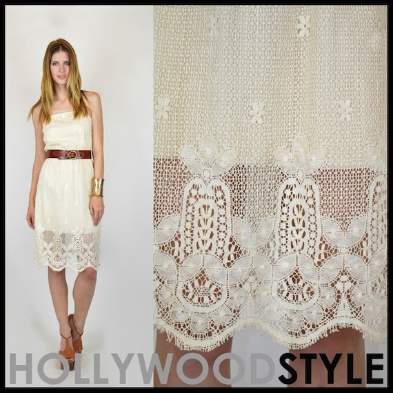 VTG 70s sheer crochet cut out scallop hippie boho white wedding mini midi dress xs s