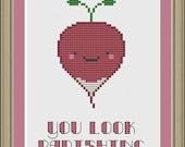 You look radishing: cute radish cross-stitch pattern