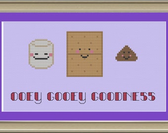Ooey gooey goodness: cute s'mores cross-stitch pattern