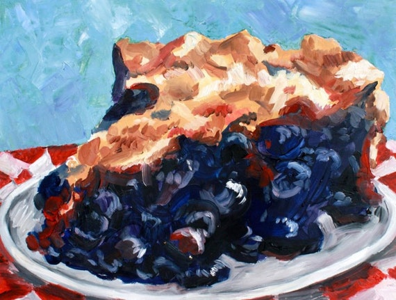 Original Blueberry Pie Oil painting