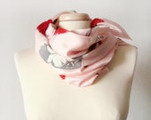 Vintage pink scarf, roses print scarf, summer scarf, red and pink scarf, summer fashion