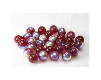 Cranberry Round AB Czech Beads - 8 mm - 30