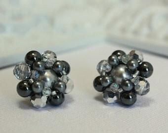Wedding Earrings-Grey Pearl Earrings-Grey Bridesmaid Jewelry-Bridesmaid Gift-Wedding Jewelry-Gray-Bridesmaid Earrings