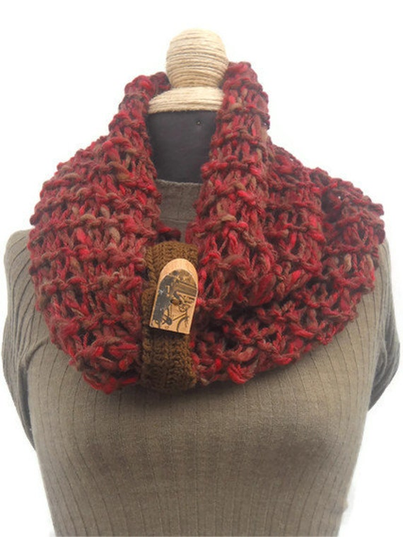 Super Soft Circle Scarf Hand Knit Infinity Scarf Loop Scarf Red Raspberry Wool NEW COLLECTION OOAK handmade