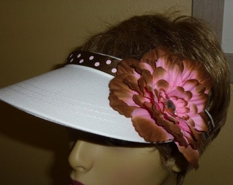 White Ladies Sun Visor with Brown and Pink Polka Ribbon and Flower, Decorative Golf Visor