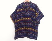 80s vintage men extras large xl South American polyester shirt