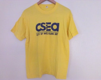 80s vintage yellow t-shirt shift and thin large size, city of white plains unit