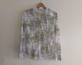 70s vintage women's large sheer floral disco shirt