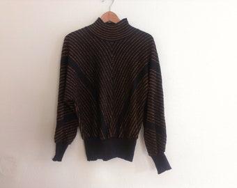 80s vintage women's small copper chevron striped sweater