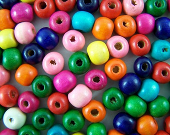 100 Colorful wood beads - 10 mm multiple colors round shape