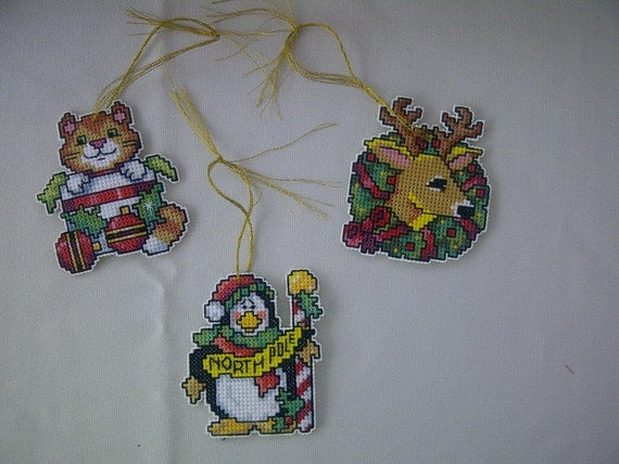 Set of 3 Hand Crafted Cross Stitch Cat, Penguin and Reindeer Christmas Ornaments