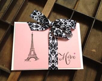 """Eiffel Tower """"Merci"""" Thank You Cards"""